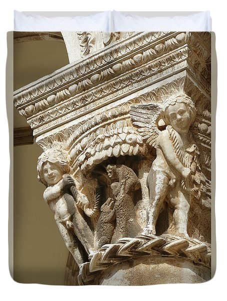 Figures On Capitals Of The Rector's Palace Duvet Cover