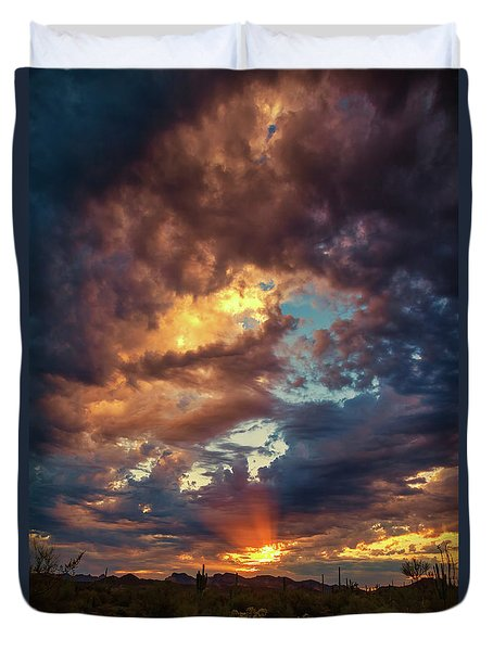 Finger Painted Sunset Duvet Cover