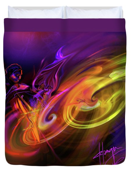 Cellist In Space Duvet Cover