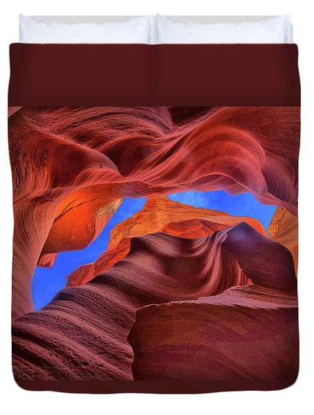 Fire Beneath The Sky In Antelope Canyon Duvet Cover
