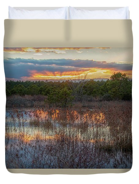 Duvet Cover featuring the photograph Fire In The Sky Over The Pines by Kristia Adams