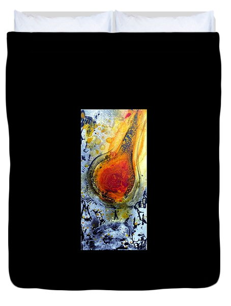 Duvet Cover featuring the painting Fireball by 'REA' Gallery
