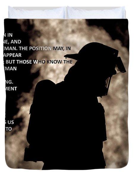 Firefighter Poem Duvet Cover