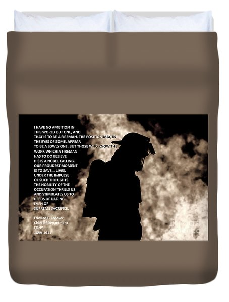 Firefighter Poem Duvet Cover