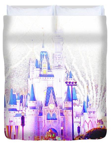 Fireworks, Cinderella's Castle, Magic Kingdom, Walt Disney World Duvet Cover