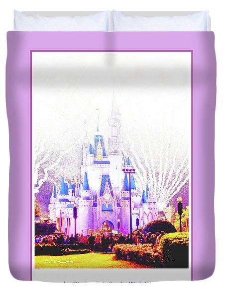 Fireworks, Cinderella's Castle, Magic Kingdom, Walt Disney World Duvet Cover