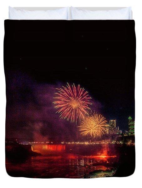 Fireworks Over The Falls. Duvet Cover