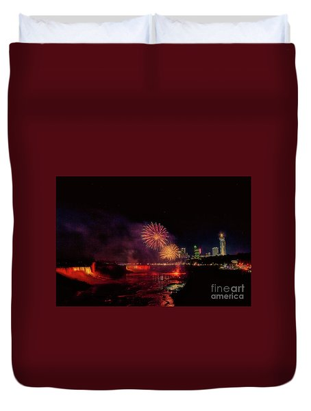 Fireworks Over The Falls. Duvet Cover
