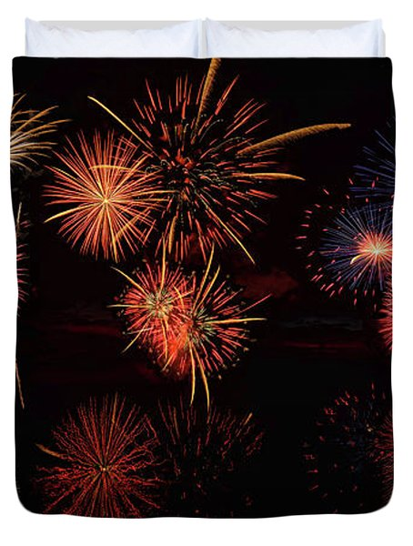Duvet Cover featuring the digital art Fireworks Reflection Panorama by OLena Art Brand