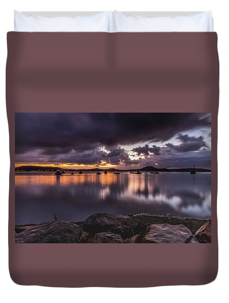 First Light With Heavy Rain Clouds On The Bay Duvet Cover
