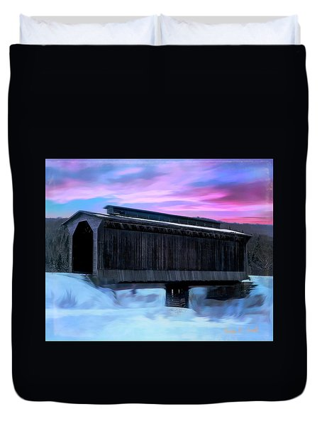 Fisher Raiilroad Covered Bridge Wolcott Vermont. Duvet Cover