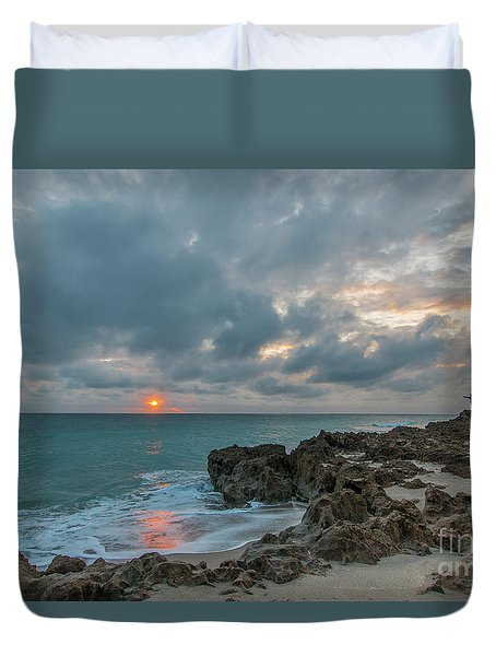 Duvet Cover featuring the photograph Fisherman On Rocks by Tom Claud