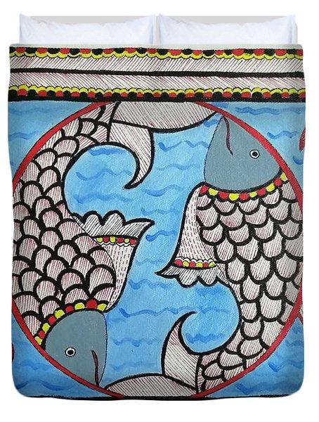 Fishes Madhubani Painting Duvet Cover