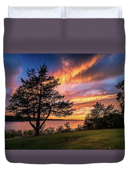 Fishing At End Of Day Duvet Cover