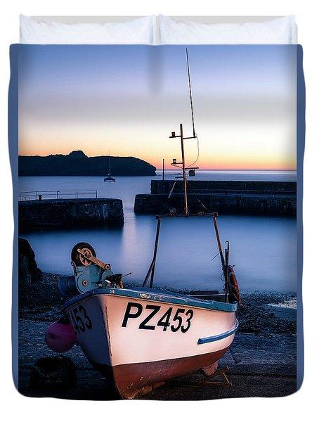 Fishing Boat In Mullion Cove Duvet Cover