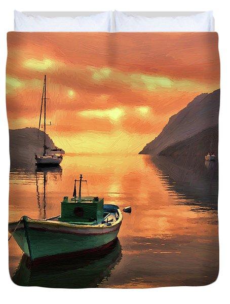 Fishing Boats At Sunset Simi Greek Islands-dwp40406001 Duvet Cover