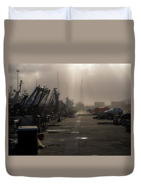 Fishing Boats Moored In The Harbor Duvet Cover