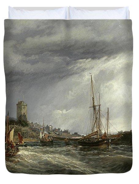 Fishing Boats Running Into Port, Dysart Harbour Duvet Cover