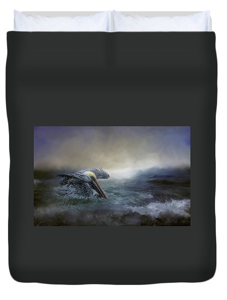 Fishing In The Storm Duvet Cover