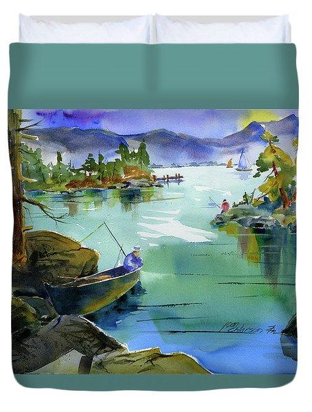 Fishing Lake Tahoe Duvet Cover