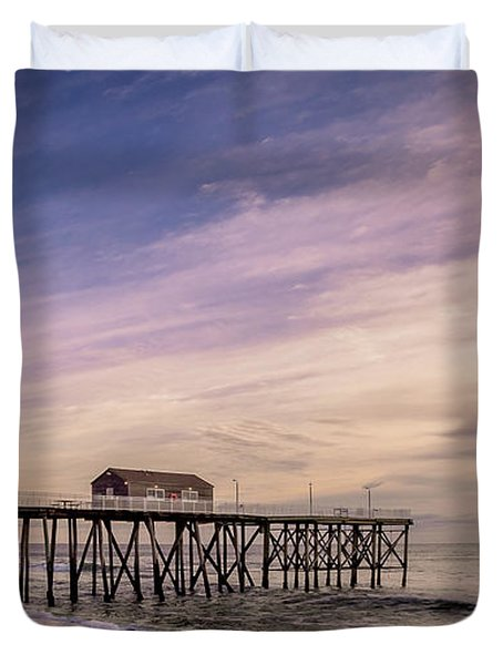 Fishing Pier Sunrise Duvet Cover
