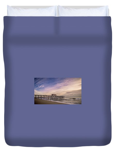 Duvet Cover featuring the photograph Fishing Pier Sunrise by Steve Stanger