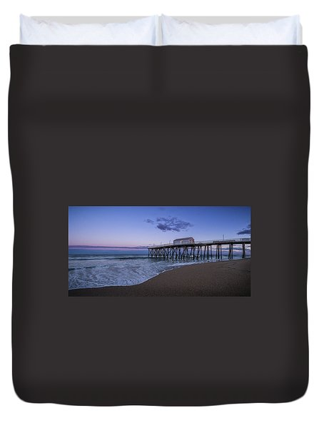 Duvet Cover featuring the photograph Fishing Pier Sunset by Steve Stanger