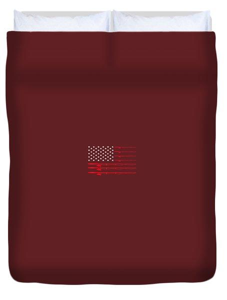 Fishing Rod T Shirt American Usa Flag - Fisherman Gift Idea Duvet Cover