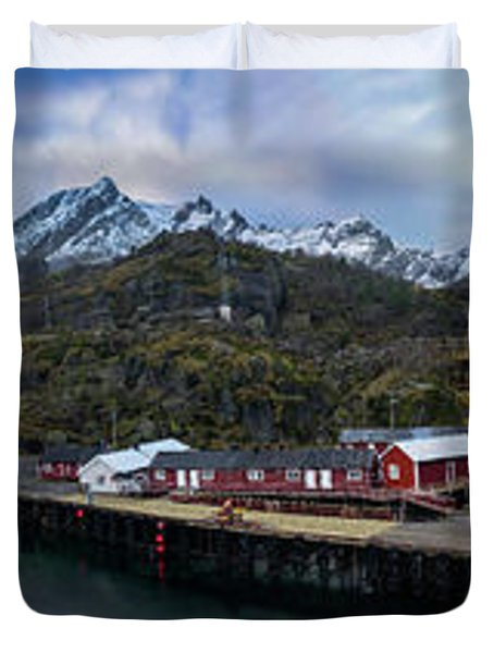 Fishing Village A On Lofoten Duvet Cover