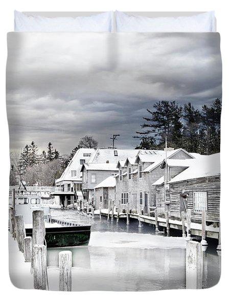 Fishtown Michigan In February Duvet Cover