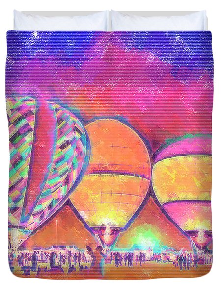 Five Glowing Hot Air Balloons In Pastel Duvet Cover