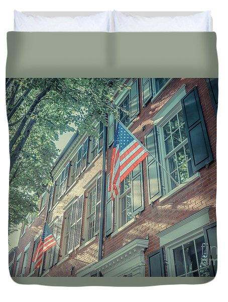Flags Old Town Alexandria Duvet Cover
