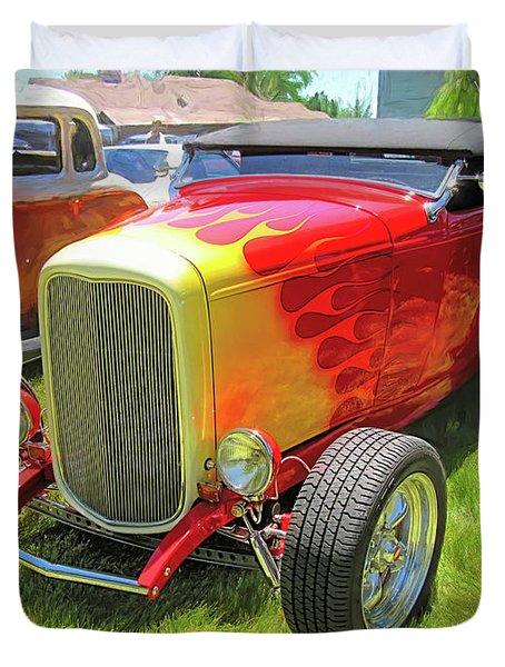 Flamed Red 1932 Ford Roadster Duvet Cover