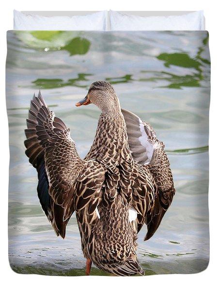 Flapping Female Mottled Duck Square Duvet Cover