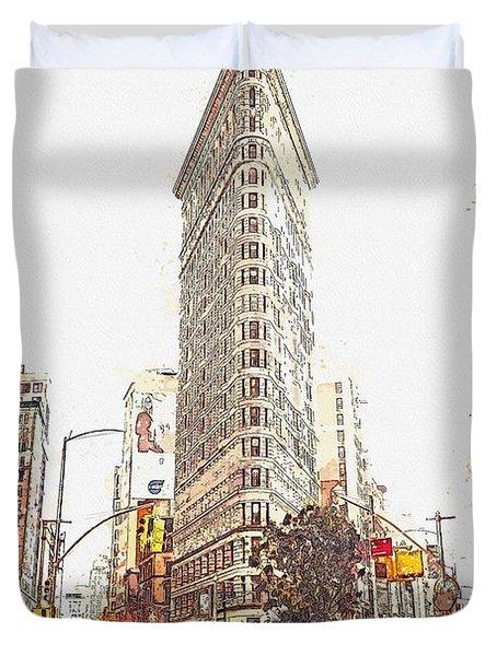 Flat Iron, New York, Etats-unis    Watercolor By Adam Asar Duvet Cover