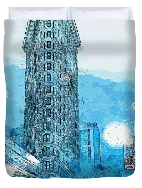 Flatiron Building In The Winter, Ny -  Watercolor By Adam Asar Duvet Cover