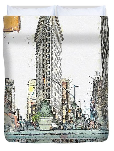 Flatiron Building, New York, United States -  Watercolor By Adam Asar Duvet Cover