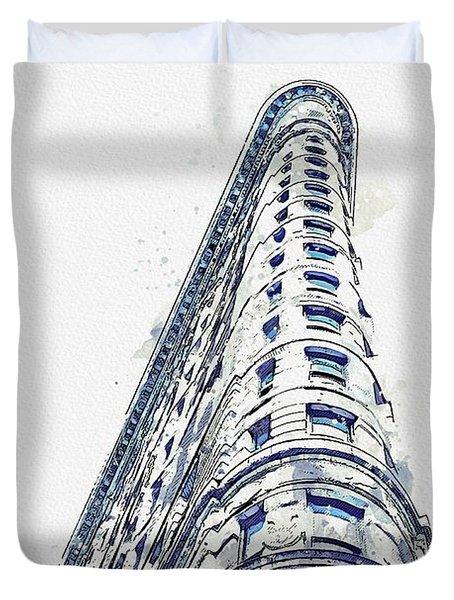 Flatiron Building Watercolor By Ahmet Asar Duvet Cover