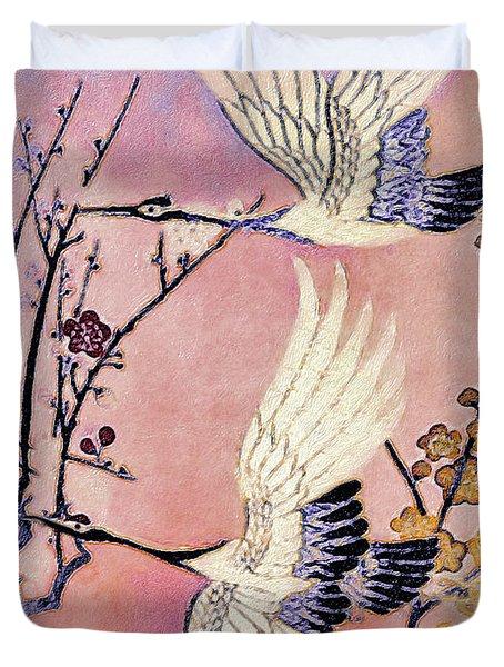 Flight Of The Cranes - Kimono Series Duvet Cover