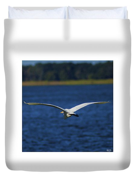 Flight Of The Egret Duvet Cover