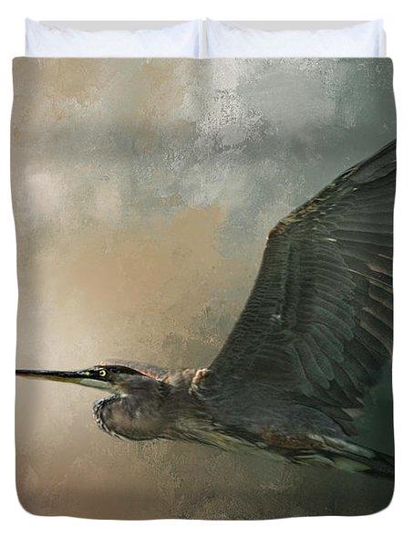 Flight Of The Great Blue Duvet Cover