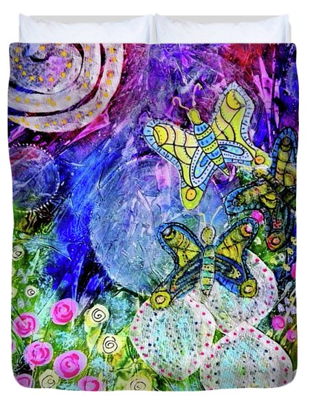 Flight Of The Lunar Moths Duvet Cover