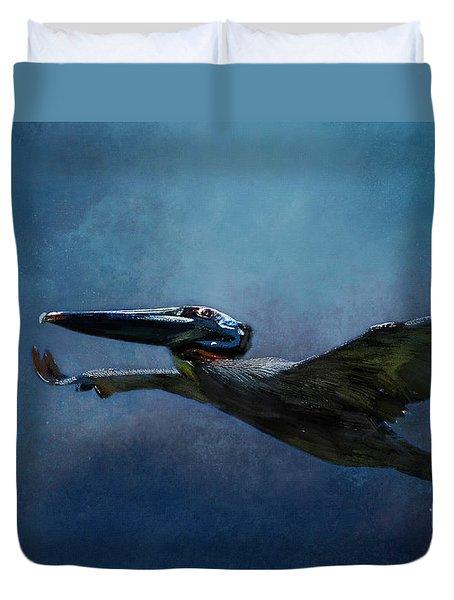 Flight Of The Pelican Duvet Cover