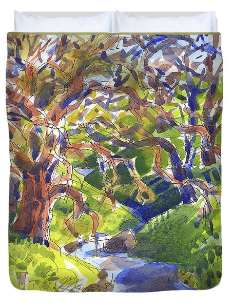 Duvet Cover featuring the painting Flooded Trail by Judith Kunzle