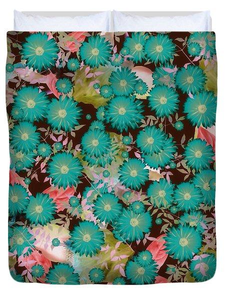 Duvet Cover featuring the digital art Floral Flurry Blue Green by Rachel Hannah