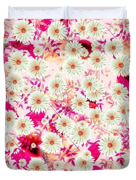 Duvet Cover featuring the digital art Floral Flurry Fuchsia Pink by Rachel Hannah