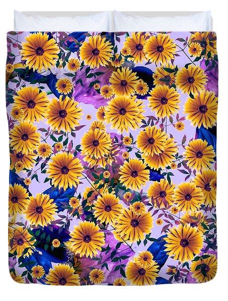Duvet Cover featuring the digital art Floral Flurry Orange Violet  by Rachel Hannah
