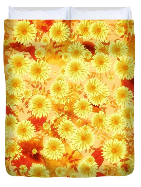 Duvet Cover featuring the digital art Floral Flurry Orange Yellow by Rachel Hannah