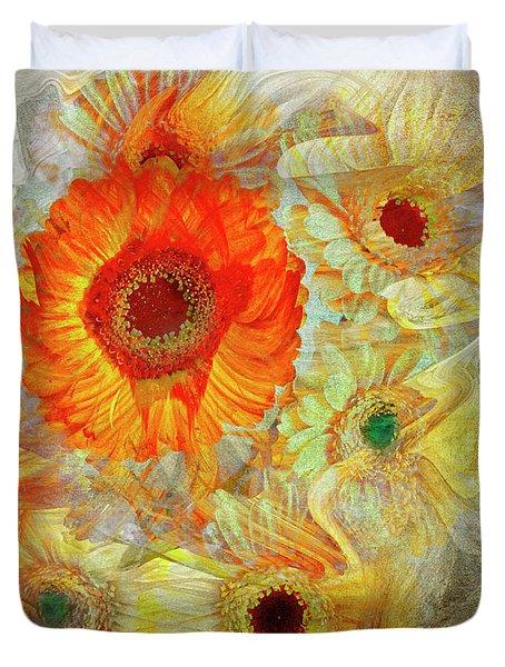Duvet Cover featuring the digital art Floral Joy by Edmund Nagele