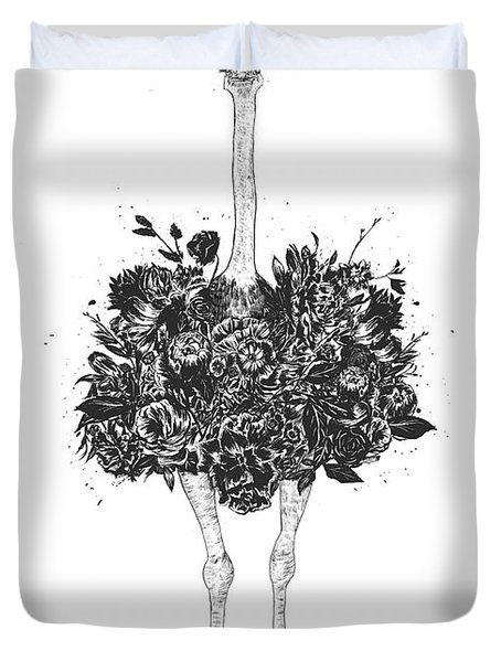 Floral Ostrich Duvet Cover